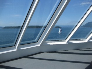 L - Canada - Vancouver ferry to Victoria ~windows & sailboat