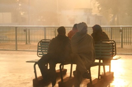 Train workers in the morning mist