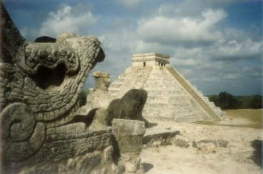 From the serpent's mouth: El Castillo viewed from the Temple of the Warriors, Mexico