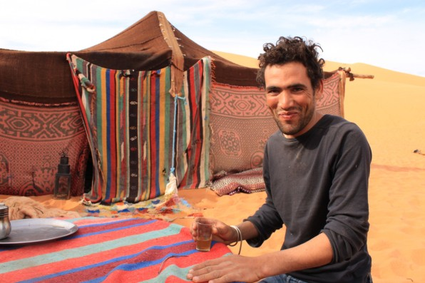 "Enjoying Moroccan ""Whisky"" - mint tea at the Berber Camp, Erg Chebbi, Morocco"