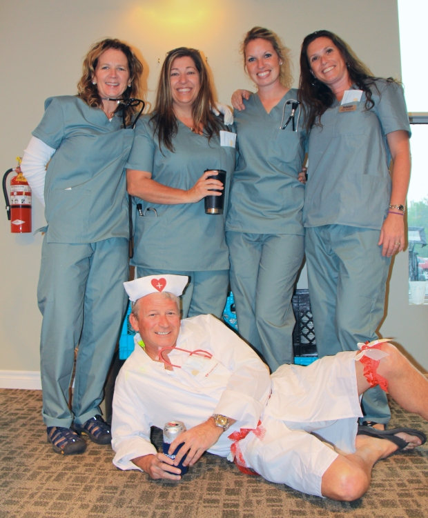 Dr. Barry Raycroft relaxes after Emerg OR with Carol Wiggins, Caley Weese, Shelley Rees, & Patti Middleton