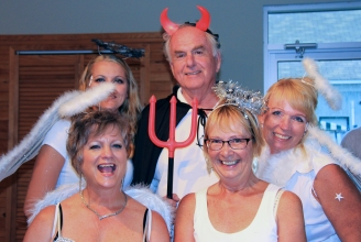 Devil Brian Magee with Pamela Powell, Jennifer Dance, Deb German, & Tammy Keogh