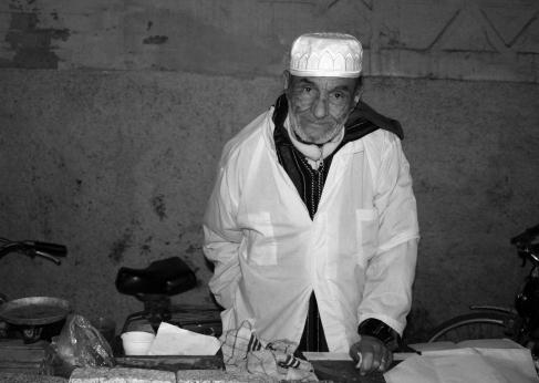 Friendly nut & seed vendor, somewhere deep inside the souks of Marrakech