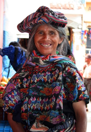 Friendly Maya woman, Antigua, Guatemala
