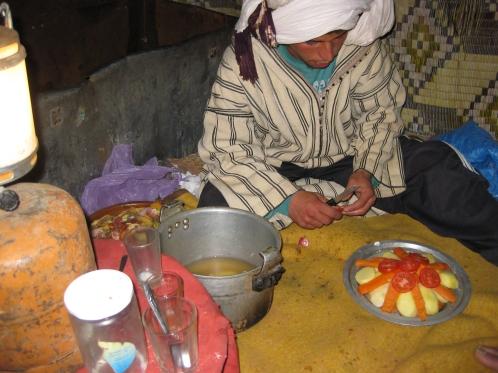 Vegetable tajin for supper! Berber camp, Erg Chebbi. Morocco