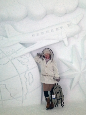 """Lola goes """"flying"""" - Hotel de Glace Ice Terminal"""
