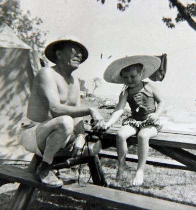 Lola camping - with Grandpa Wanamaker 1958