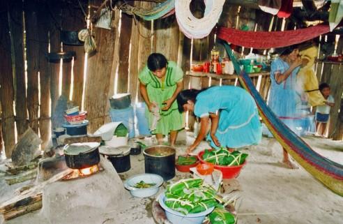 Making tamales, Belize