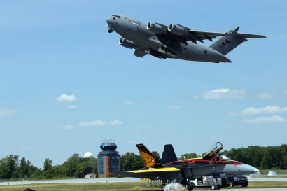 CFB Trenton Globemaster fly-by above CF-18