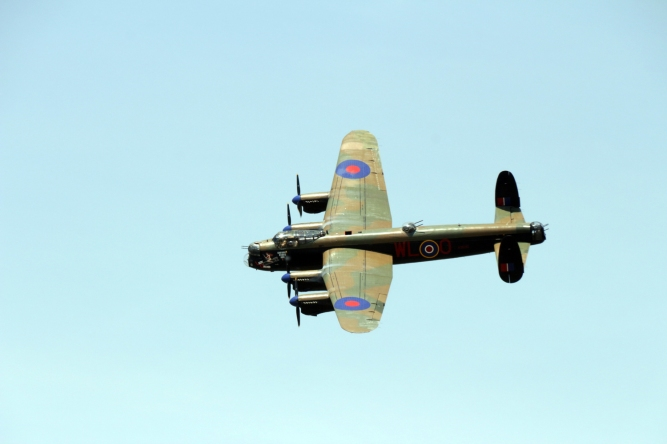 AVRO Lancaster fly-by. This Lancaster Bomber, dedicated to Andrew Mynarksi, was restored by Hamilton Canadian Warplane Heritage Museum.