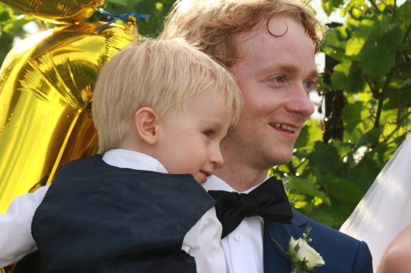 Best man Scott Allin with son Gabriel