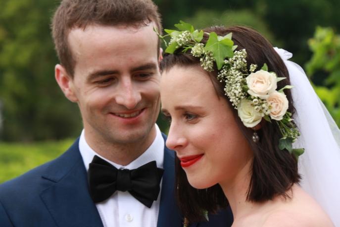 Jim looking at his lovely new bride, Tegan