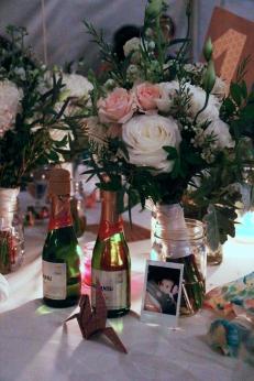 Wine & roses & origami crane
