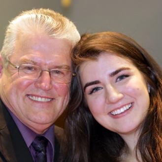 "Tabitha Savic & Chair John Chisholm her ""Rotary Dad"""