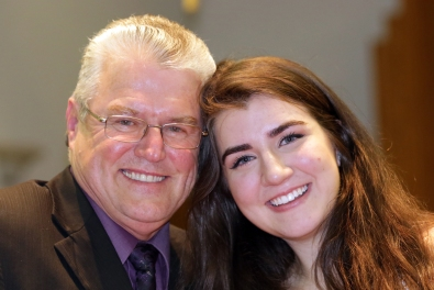 "Tabitha Savic & Chair John Chisholm her ""Rotary Dad"""