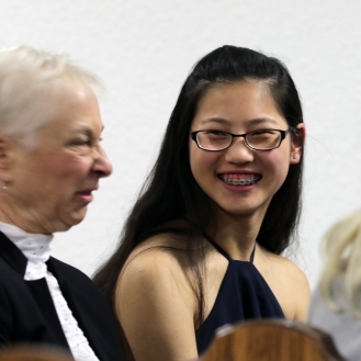 A fun moment between violist Jeanette Huang and her pianist