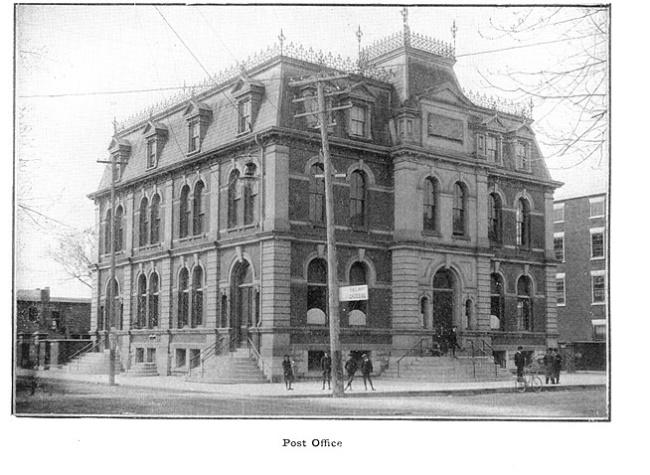 Post Office, SW corner of Pinnacle & Bridge Street East (site of Intelligencer Building)