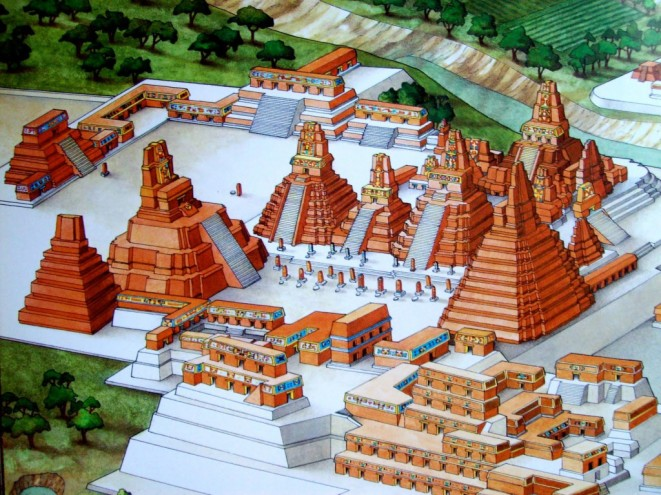 Artist's drawing of Central Tikal