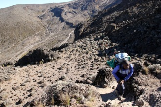 Barranco wall climb - note yesterday's trail on far hillside