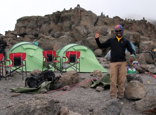 """""""Welcome to your summit night camp!"""" says Assistant Guide Ibrahim Mastiaka"""