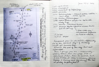 My journal with Map 8 (Stedman's Trekking guide to Africa;s highest mountain, 4th Ed, 2014.