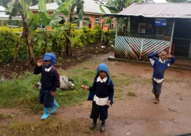 Mweka Village Children waving bye