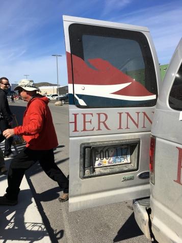 Loading backpacks into Frobisher Inn courtesy van
