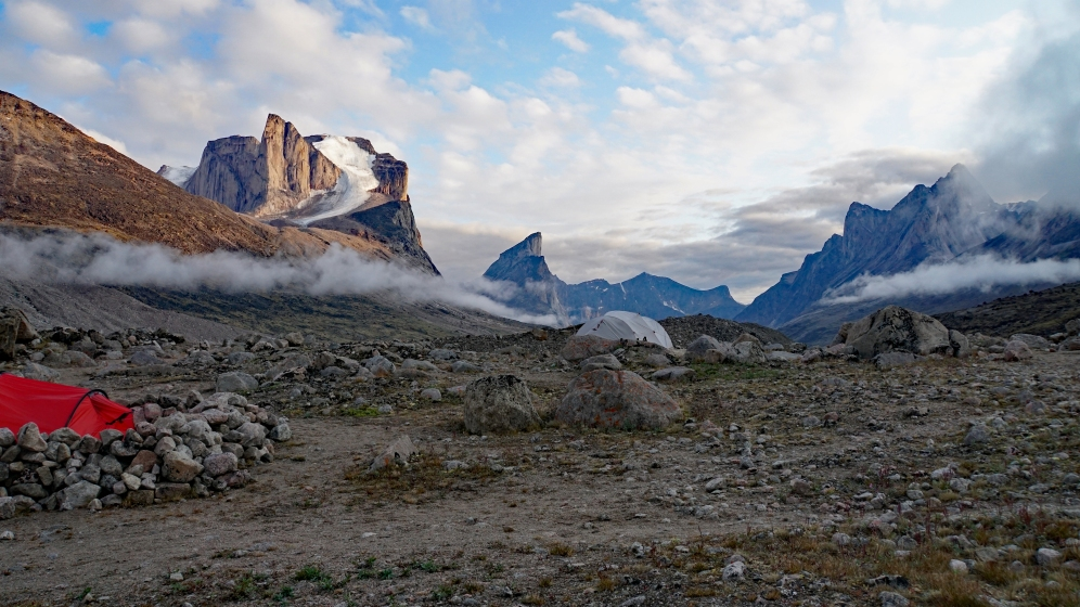 Our tent, the Weeping Glacier, & Mt. Thor