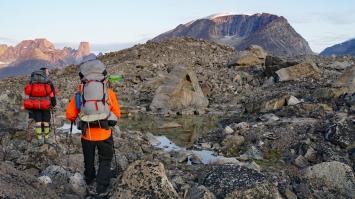 Jeff & Jim trekking up the Highway Glacier Moraine