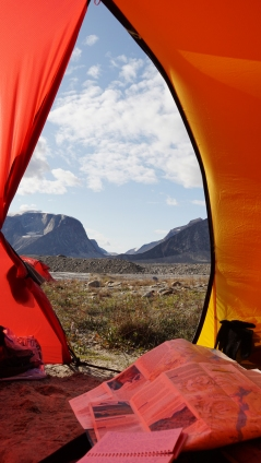 View of Highway Glacier from tent vestibule